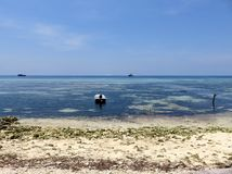 Havsikt från stranden, Maafushi, Maldiverna Fotografering för Bildbyråer