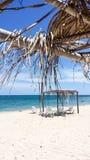 Havsikt från strandhydda Fotografering för Bildbyråer