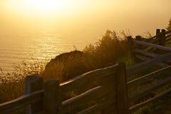 Havsikt på solnedgången Arkivbilder