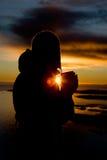 havsilhouette Arkivfoto