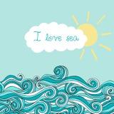 Havsillustration med solen och molnet, maritim bakgrund med pl stock illustrationer