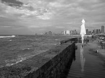 Havsinvallningen på en molnig dag i svartvitt Arkivfoto