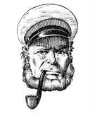 Havskapten, marin- gammal sjöman med röret eller bluejacket, sjöman med skägget eller mansjöman lopp med skeppet eller fartyget Royaltyfria Foton