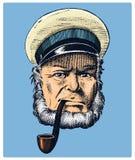 Havskapten, marin- gammal sjöman med röret eller bluejacket, sjöman med skägget eller mansjöman lopp med skeppet eller fartyget Arkivbilder