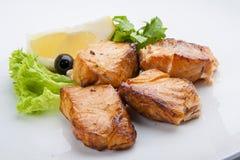 Havskattkebab, skewered fisk med gräsplan royaltyfri foto