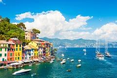 Havskust i Portofino, Italien Arkivfoton