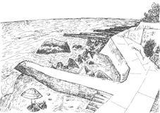 Havskust med pir och stenig kust i Krimet stock illustrationer