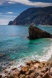 Havskust, Monterosso alsto, Cinque Terre, Italien Fotografering för Bildbyråer
