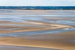 Havskust på lågvatten, St Michael ` s, Frankrike Arkivfoto