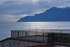 HAVSLANDSKAP I SALERNO, SÖDRA ITALIEN arkivfoto