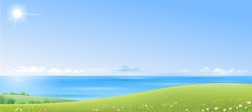 Havslandskap med gröna kullar vektor illustrationer