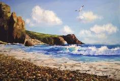 Havslandskap med seagullen stock illustrationer