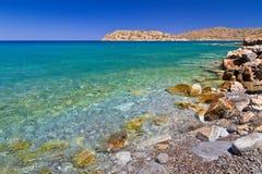 Havslandskap på den Spinalonga ön på Crete Royaltyfria Bilder