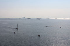 Havslandskapet på aftonen Fotografering för Bildbyråer
