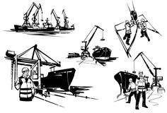 Havslastningsbrygga- och klyvarekranar på porten Hamnarbetarebrigadgeneral med walkie-talkie Dockworkers på en behållareterminal  stock illustrationer