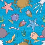 Havsliv bevattnar Seamless Pattern_eps Fotografering för Bildbyråer