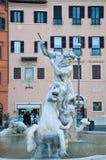 Havsnymf i springbrunnen av Neptun i piazza Navona i Rome Royaltyfri Fotografi