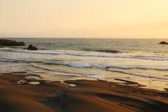 Havsolnedgången är ljust ljus guld- seascape med en försiktig våg som rullar till kusten royaltyfria foton