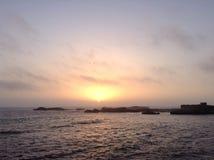 Havsolnedgångsikt Arkivfoto