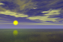 havsoluppgångsikt Arkivfoto