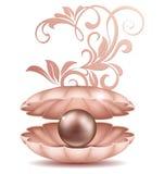 Havspärla i öppet skal En stor svart och guld- saltvattens- pärlor i skalet med illustrationen för blom- prydnad stock illustrationer