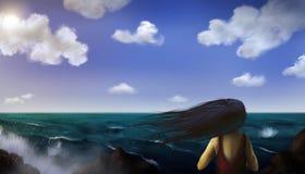 Havsplats - Digital målning Arkivfoto