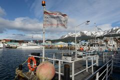Havsport av Ushuaia - den sydligast staden i världen Royaltyfri Foto