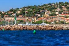 Havsporten Sainte-Maxime, Cote d'Azur, Frankrike Arkivfoto
