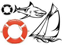 Havsresauppsättning stock illustrationer