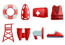 Havssäkerhetssymboler uppsättning, tecknad filmstil vektor illustrationer