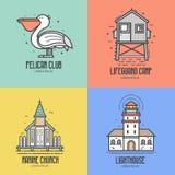 Havssemesterortlogo eller emblem vektor illustrationer
