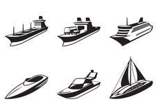 Havsships och fartyg i perspektiv stock illustrationer
