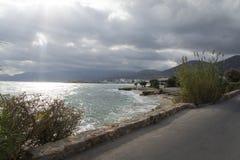 Havssikt från bänken Royaltyfria Foton