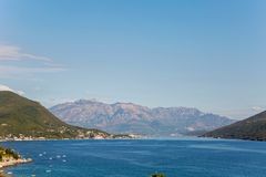 Havssikt från fästningen av Herceg-Novi royaltyfria bilder