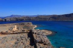Havssikt från fästningen på ön Gramvousa Royaltyfri Bild
