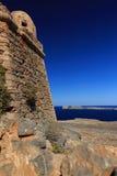 Havssikt från fästningen på ön Gramvousa Arkivbild