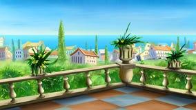 Havssikt från terrassen Arkivbilder