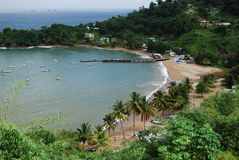 Havssikt, landskap, Tobago ö Royaltyfri Foto