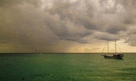 Havssikt med en segelbåt stock illustrationer