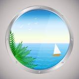 Havssikt med palmträd och skeppet Stock Illustrationer