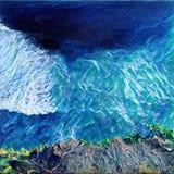 Havssikt ner från klippan Krullar det blåa havet och revan för elkraft från plötslig kust vektor illustrationer