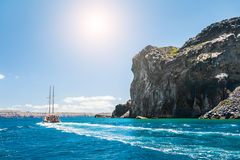 Havssikt på de grekiska öarna Arkivfoton