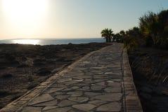 Havssikt på den Cypern kusten Arkivfoto