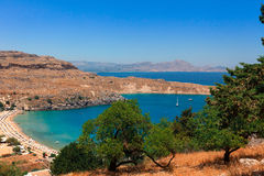 Havssikt på Lindos i Rhodes Fotografering för Bildbyråer