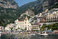 Havssikt på Positano Royaltyfri Foto