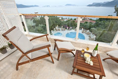 Havssikter från hotellrum Royaltyfri Foto