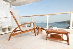 Havssikter från hotellrum Arkivfoton