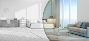 Havssiktssovrum och vardagsrum i lyxigt strandhus Arkivfoto