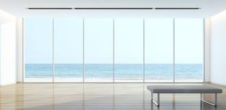 Havssiktsvardagsrum i modernt hus Royaltyfri Fotografi