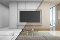 Havssiktsvardagsrum med television i lyxigt strandhus, skissar design av det moderna semesterhemmet för stor familj Arkivfoto